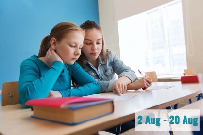 group of students with school test